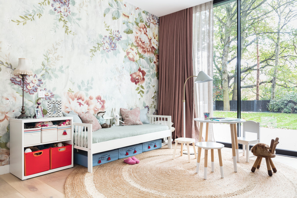 Scandinavian Girls Bedroom With Floral Wallpaper Dwellingdecor