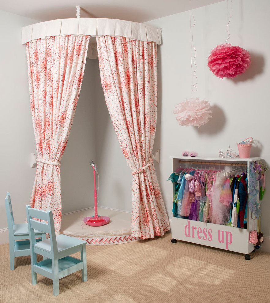 Traditional Playroom Decor With Curtains