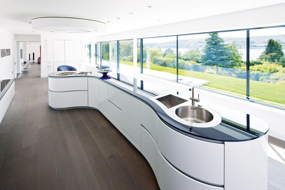 Angular Contemporary Kitchen With Curve Cabinets Dwellingdecor