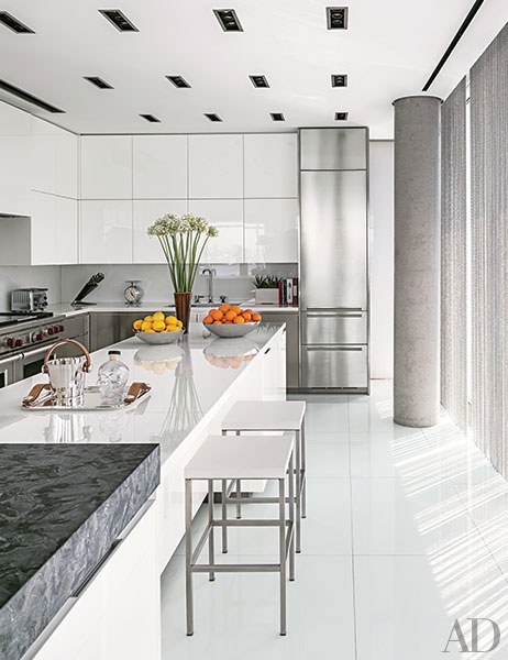 Contemporary Kitchen With White Cabinetry and Countertops Dwellingdecor