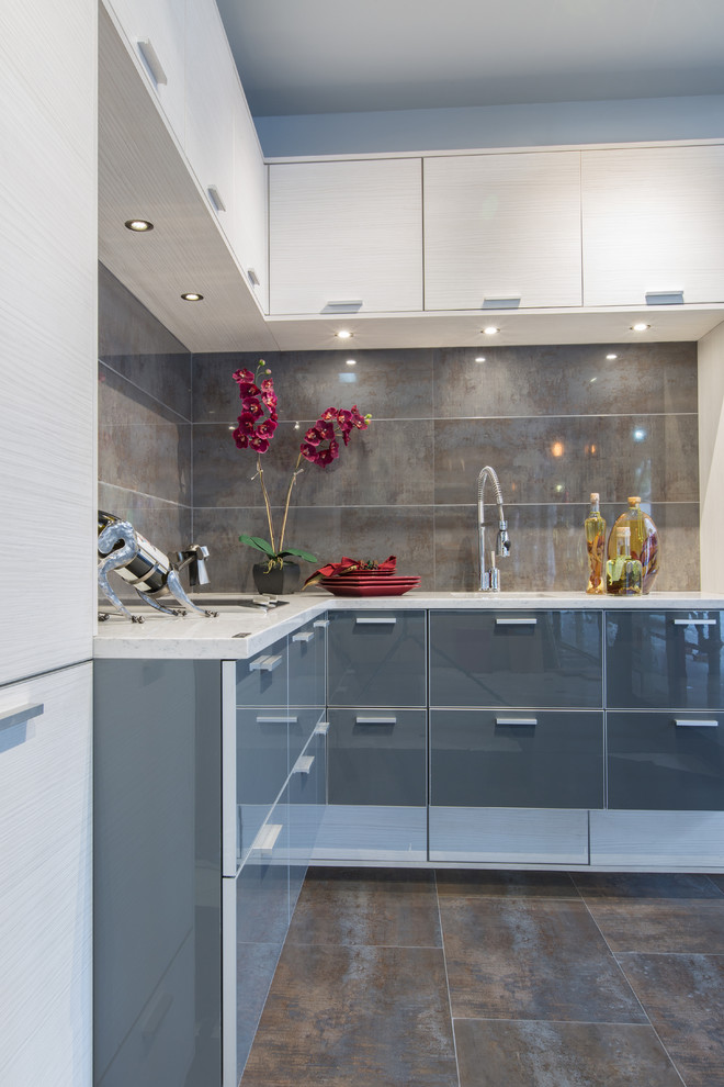 Mid-sized Contemporary L-shaped Kitchen
