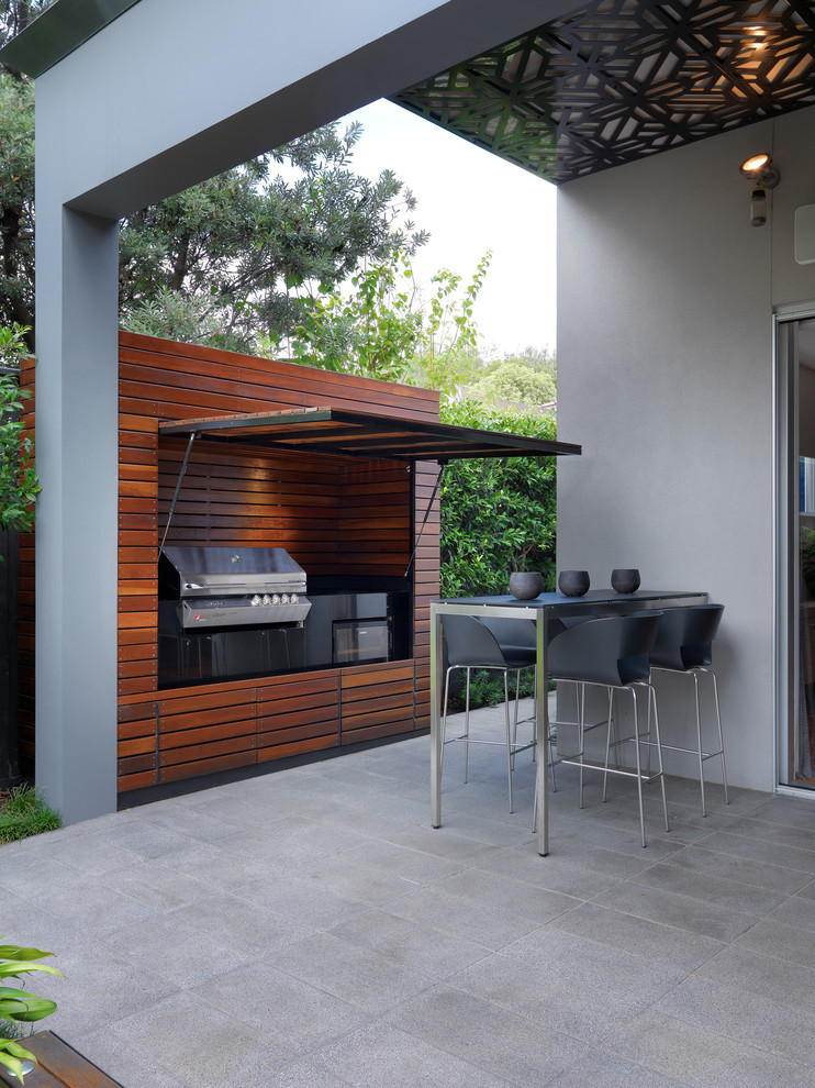 Patio With Barbecue Surrounded With Recycled Australian Hardwoods