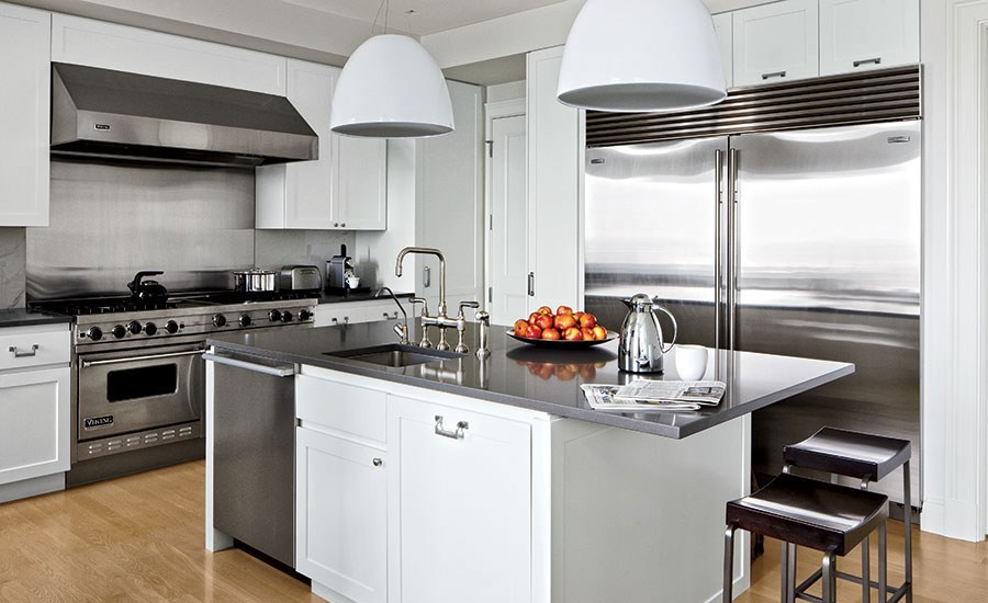 Stainless-Steel Accents Kitchen Cabinets Dwellingdecor