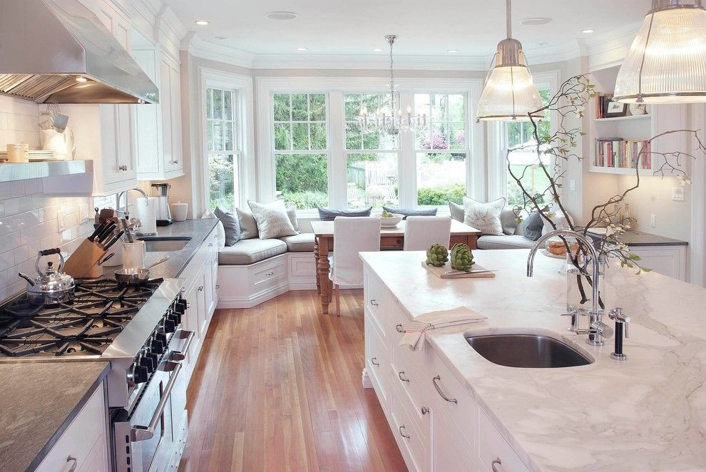 Traditional Kitchen Window Seats Attached With Dining Table Dwellingdecor