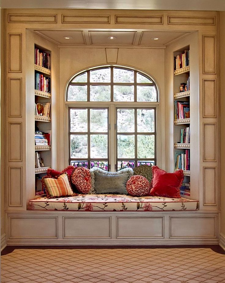 Window Seat With Arched Window And Built In Bookshelves Dwellingdecor