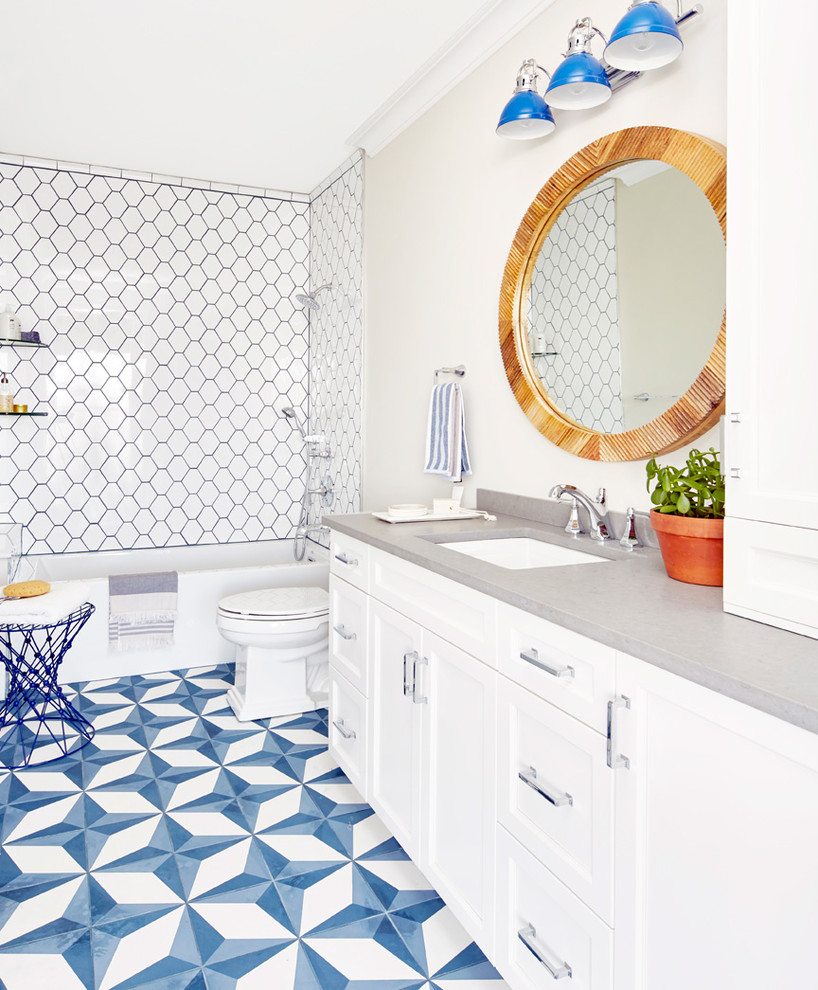 Beach Style Cool Blue Color Bathroom