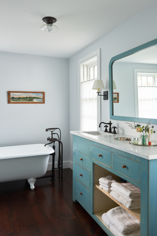 Farmhouse Style Pastel Colored Bathroom