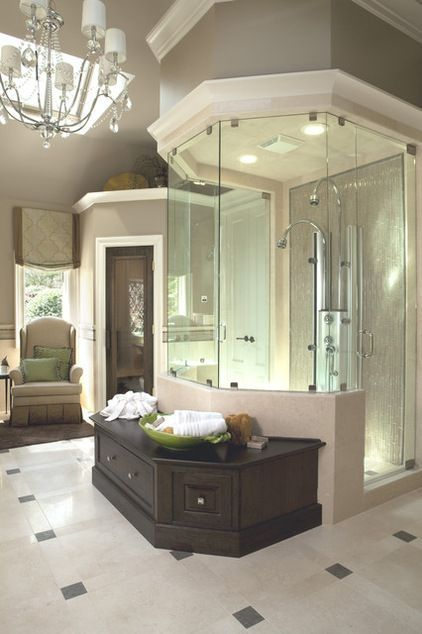 Frameless glass shower enclosure in master bath