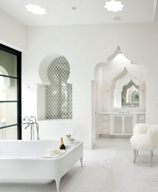 Moroccan Themed White Luxury Master Bathroom