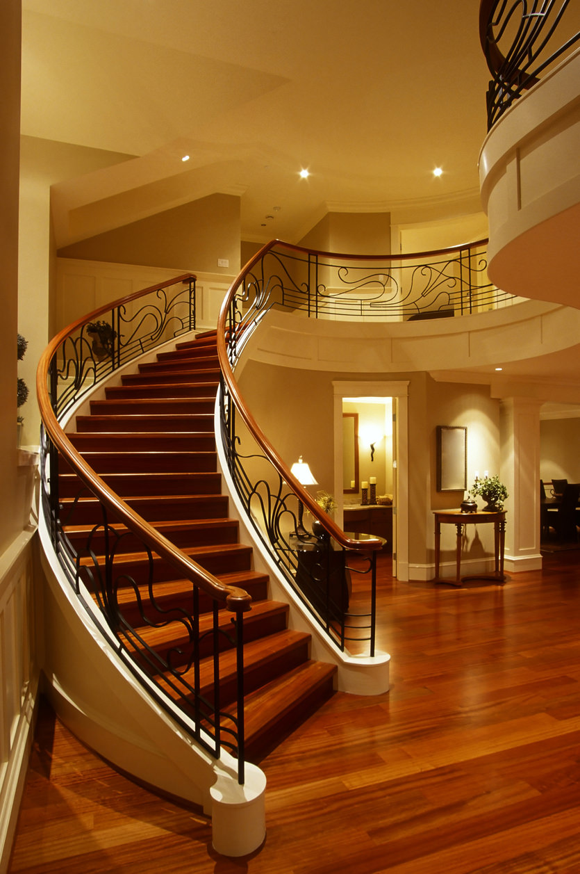 stairs mansion house railing hardwood floor