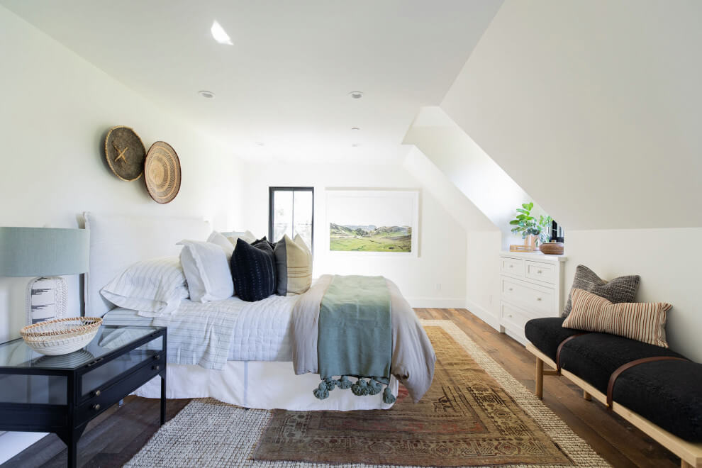 Country dark wood floor and brown floor bedroom