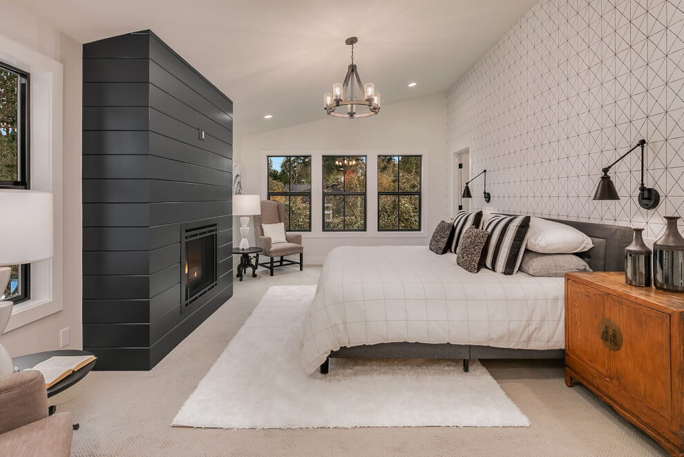 Geometric Black And White Master Bedroom