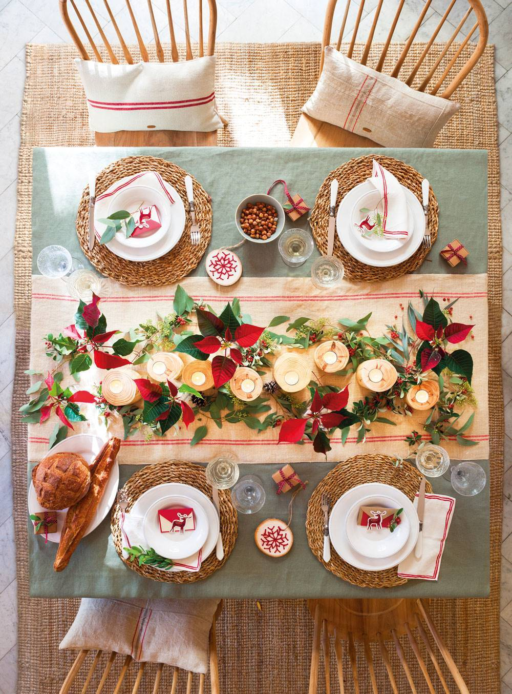 WITH POINSETTIAS AND RUSTIC AIRS