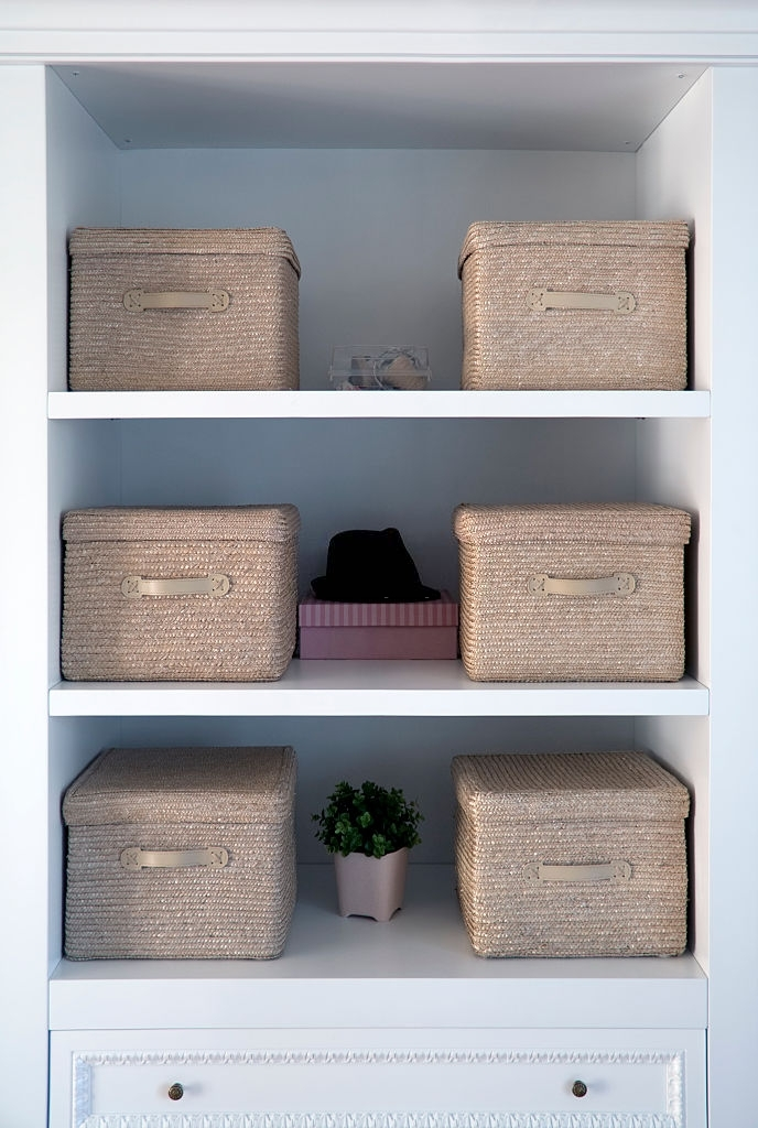 Bedroom closet with storage bins and shelves
