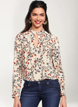 Deepika Padukone in Beige Printed Top