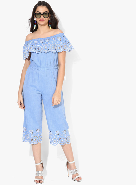 Blue Self Pattern Jumpsuit