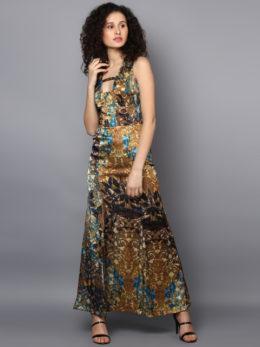 printed A-Line Dress brown