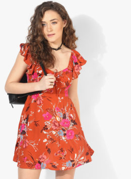 Forever 21 Rust Colored Printed Shift Dress