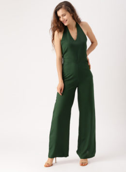 Green Solid Jumpsuits