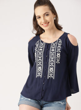 Navy Blue Embellished Top