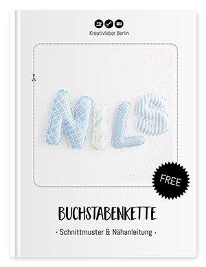 """Coverbild für das Freebook """"Schnittmuster & Nähanleitung Buchstabenkette"""" von Kreativlabor Berlin."""