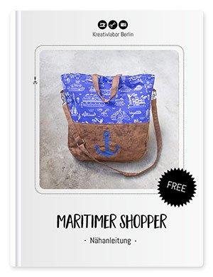 """Beitragsbild für das Schnittmuster """"Maritimer Shopper"""" von Kreativlabor Berlin."""