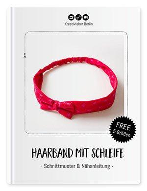 Fertiggenähtes kostenloses Schnittmuster für ein Haarband mit Schleife von Kreativlabor Berlin