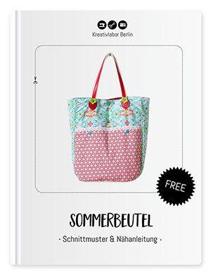 Das Schnittmuster mit Nähanleitung für den Sommerbeutel von Kreativlabor Berlin in bunten Farben genäht.