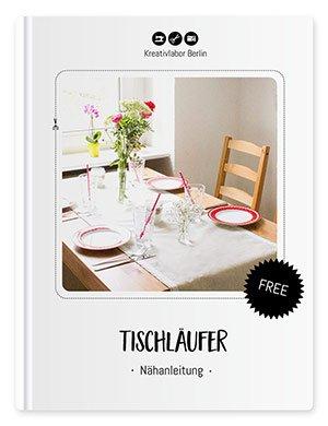 Beispielbild für den fertiggenähten Tischläufer nach dem Schnittmuster für Tischläufer von Kreativlabor Berlin.