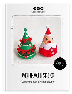 Coverbild für das gratis Schnittmuster mit Nähanleitung Weihnachtsdeko - Weihnachtsmann und Weihnachtsbaum aus Filz.