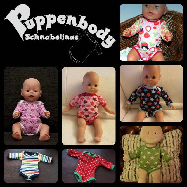 Mehrere Beispiele des fertiggenähten Puppenbody mit kostenlosem Schnittmuster & Nähanleitung.