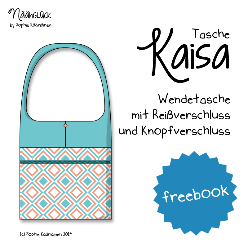 """Beitragsbild für das kostenlose Schnittmuster der Wendetasche """"Kaisa"""" von Näähglück."""