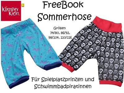 FreeBook Sommerhose für Spielplatzprinzen und Schwimmbadpiratinnen von Klimperklein - Titelbild