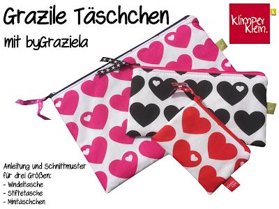 """Täschchen nach dem Schnittmuster """"Grazile Täschchen"""" von Klimperklein in drei Größen genäht."""