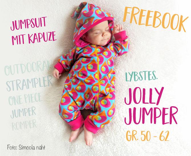 Kostenloses Schnittmuster Jolly Jumper von Lybstes mit pink orangenen Farben genäht.
