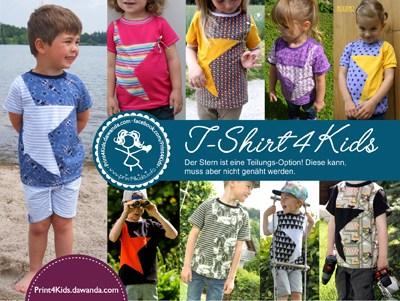 Titelbild für das Schnittmuster T-shirt4kids von Print4kids in den Größen 104, 110, 116, 122, 128 & 134.