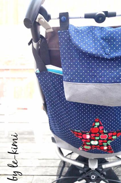 Das kostenlose Schnittmuster für die Buggy Tasche Travis von Le-Kimi ist ideal für den Kinderwagen und Buggy.