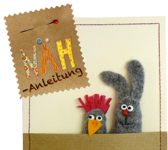 Kostenlose Schnittmuster Hase & Huhn als Fingerpuppen - Minigeschenk aus Stoffresten