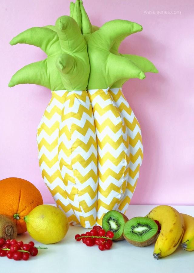 3D Ananas als Nadelkissen oder Dekokissen nach dem Schnittmuster von Was eigenes genäht.