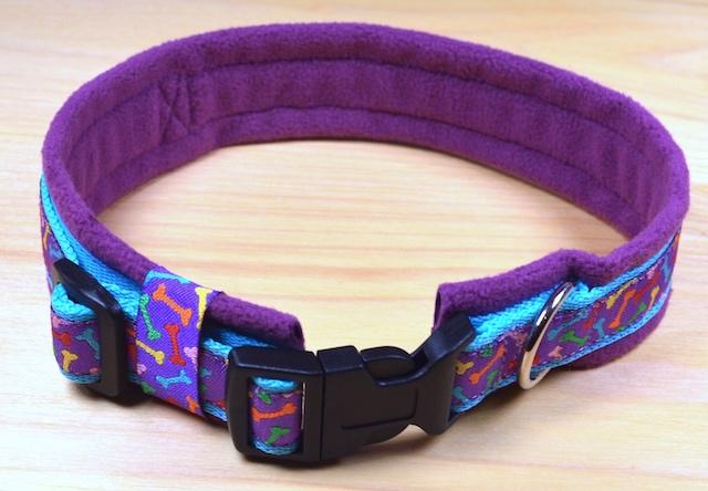 Halsband selber nähen mit Nähtutorial von PfotenPrunk - Das gepolsterte Halsband in lila!