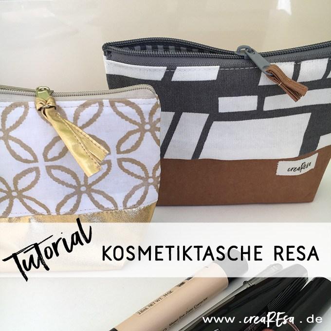 """Titelbild für das kostenlose Schnittmuster Kosmetiktasche """"Resa"""" von CreaResa."""
