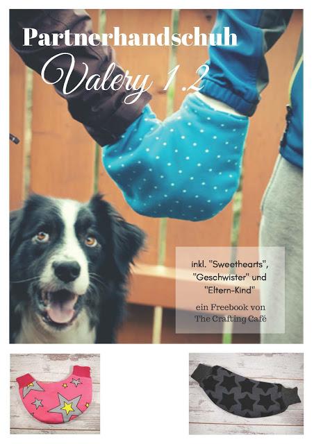 Fertiggenähtes kostenloses Schnittmuster von The Crafting Café- Partnerhandschuh für Verliebte und Eltern-Kind