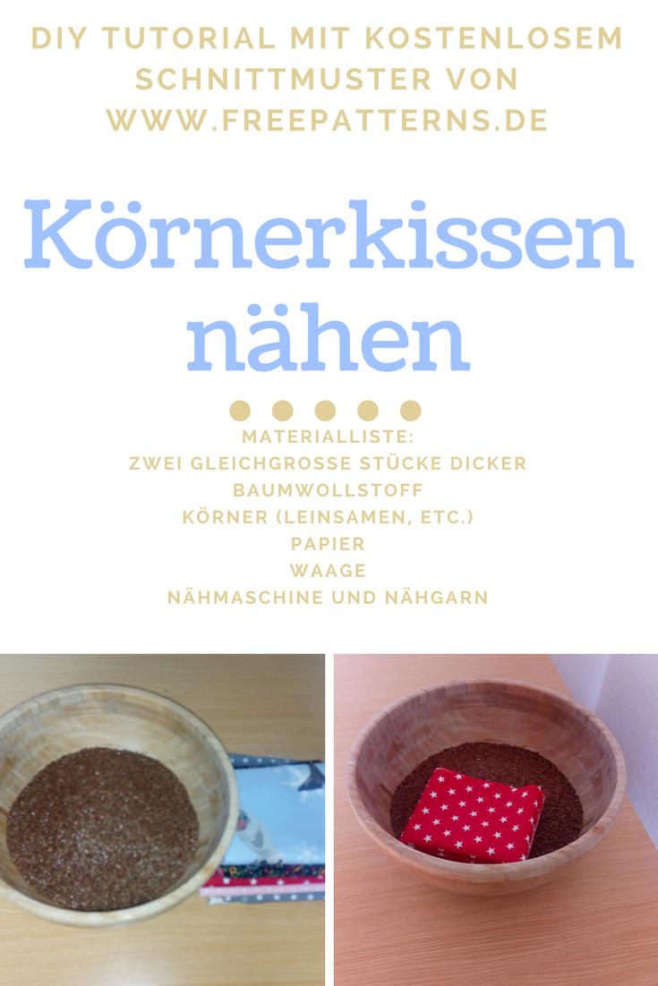 Titelbild fuer Schnittmuster Körnerkissen Stern, Herz und quadratisch.