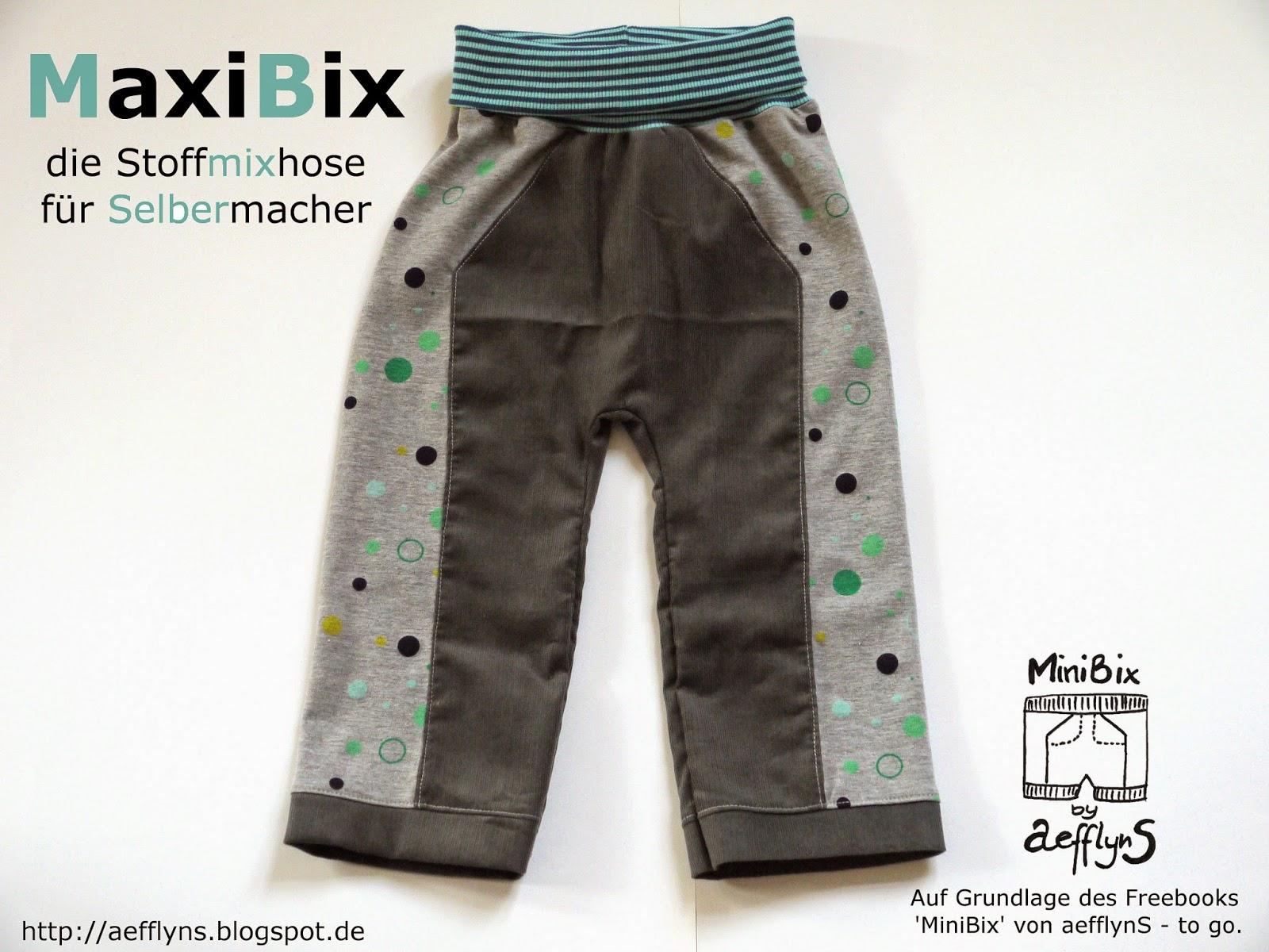 """Schaubild für das kostenlose Schnittmuster Kinderhose """"MaxiBix"""" in Gr. 68-134 von aefflynS."""