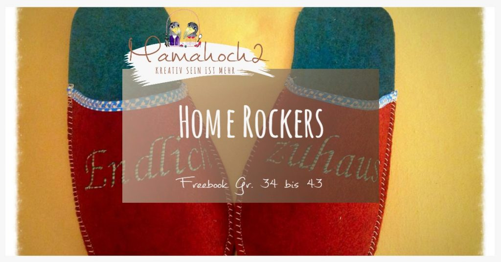 """Beitragsbild für das kostenlose Schnittmuster für Filzhausschuhe """"Home Rockers"""" von Mamahoch2."""