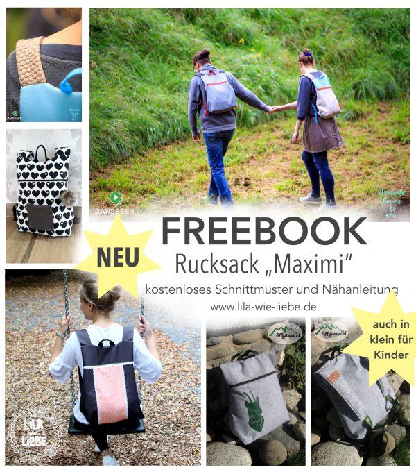 Rucksack für Kinder und Erwachsene nähen mit Nähanleitung und Schnittmuster von Lila wie Liebe