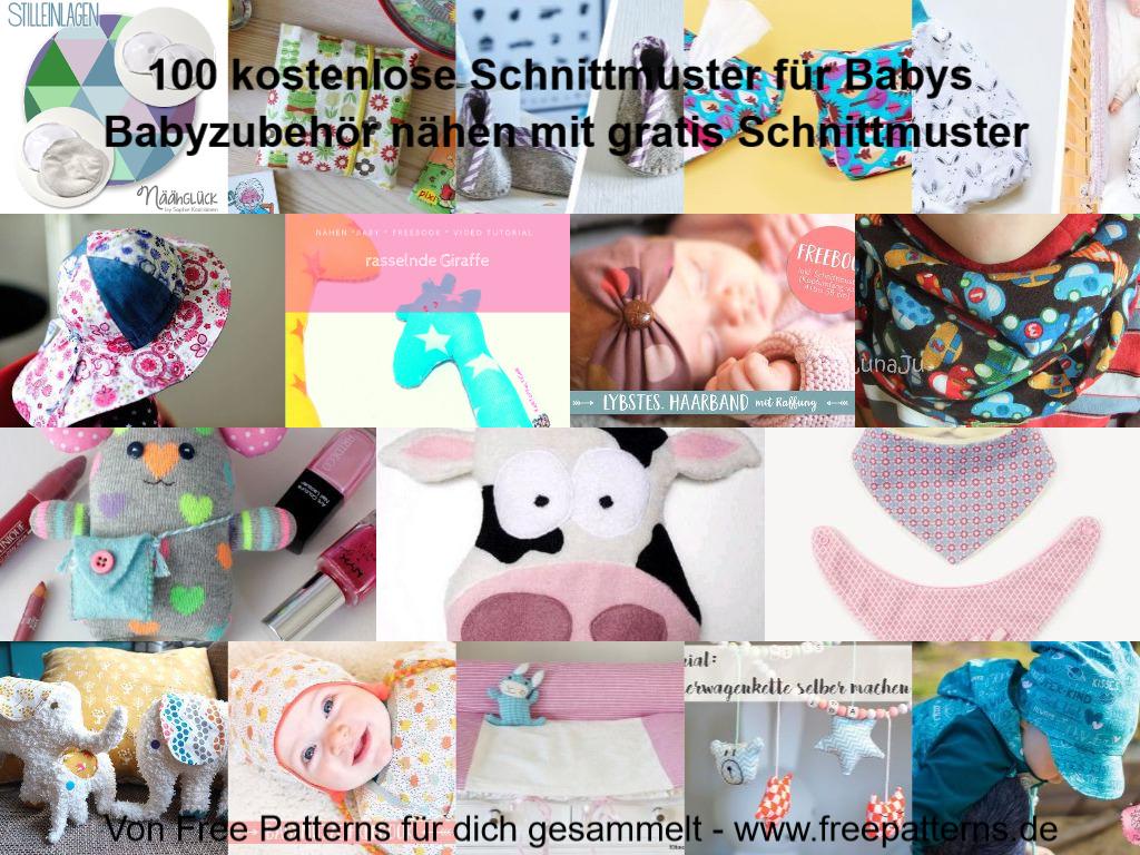 Collage 100 kostenlose Schnittmuster für Babyzubehör