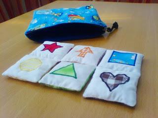 Schnittmuster Farbe-Form-Säckchen für Babys: Herz, Dreieck, Stern, Quadrat, Pfeil, Kreis.