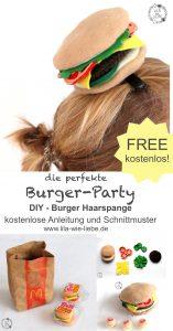Schnittmuster Burger Haarspange von Lila wie Liebe.