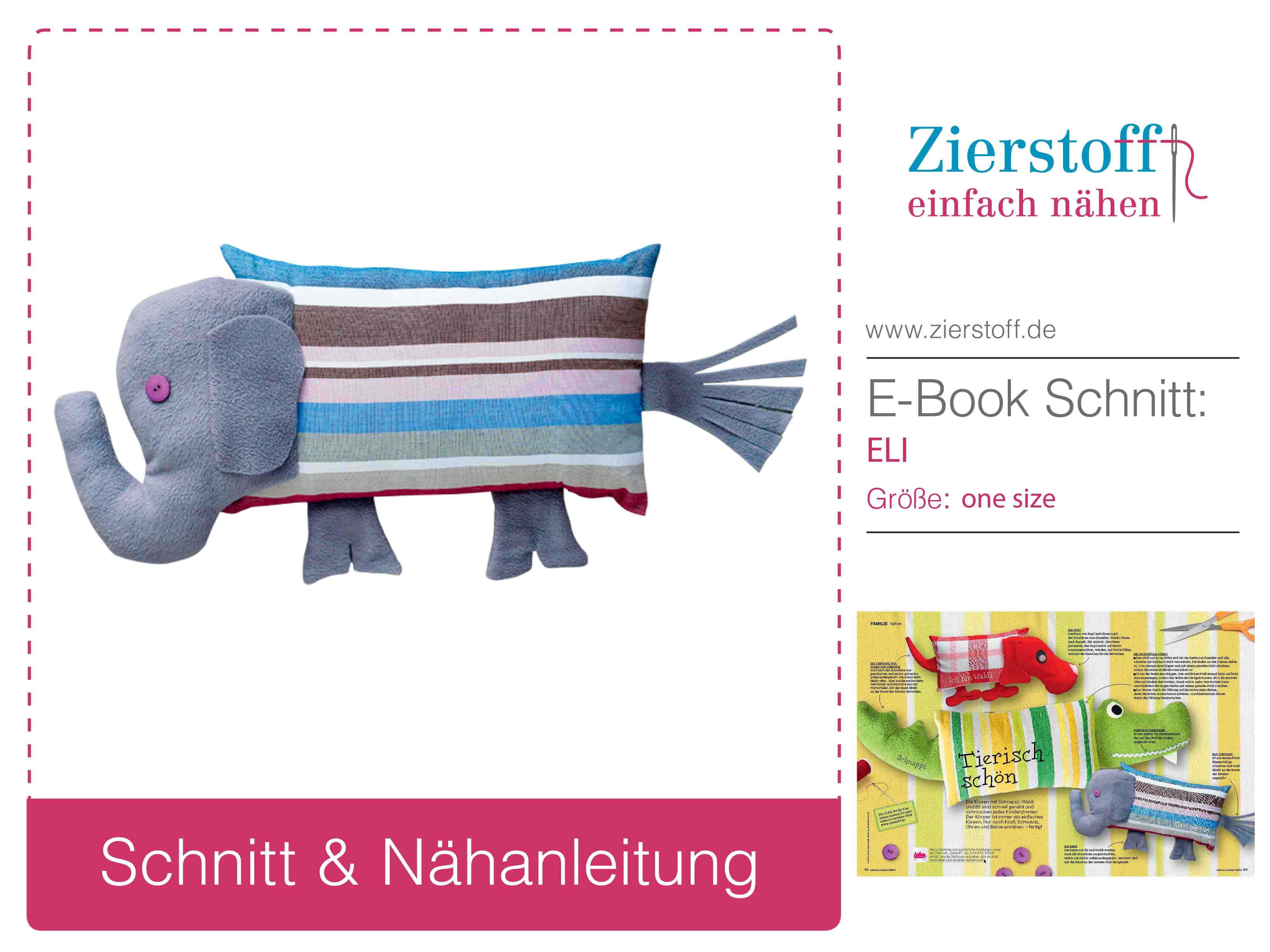 Schnittmuster Elefantenkissen von Zierstoff.